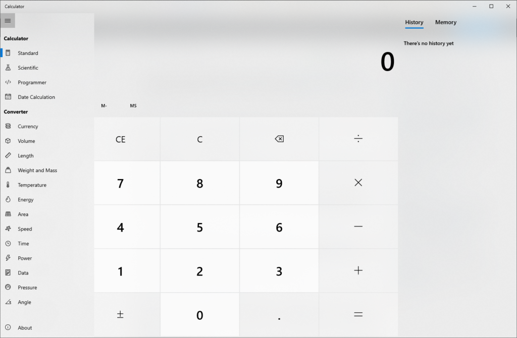 Windows calculator menu options