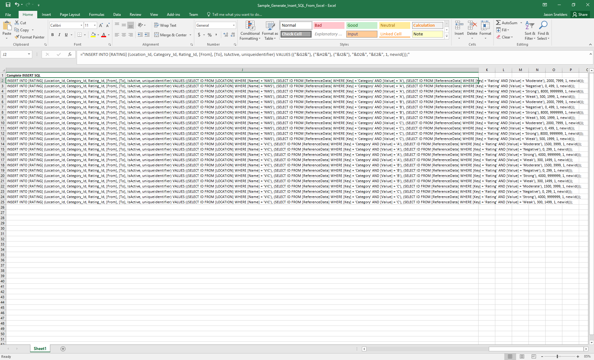 Sample - Generate Insert SQL From Excel (Screenshot 2)