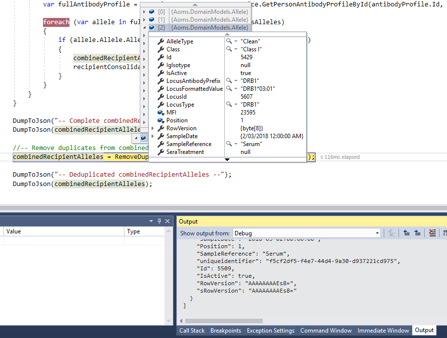 Visual Studio serialize to JSON to inspect variables