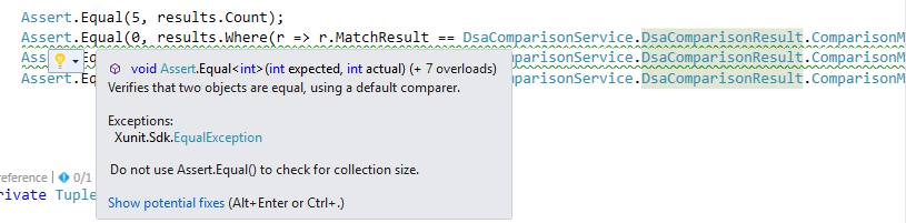 xUnit - Do not use Assert.Equal() to check for collection size.